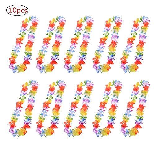 (Hawaiian Girlanden, 10 Stück Tropical Hawaiian Rüsche Luau Flower Lei Bunte Halsketten Silk Flower Garland Stirnband für Luau Thema Sommer Beach Party Festival Kostüm Kleid liefert Dekorationen Gefälligkeiten)