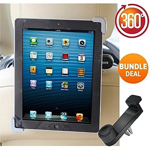 Premium Auto Ipad supporto poggiatesta Auto rotante a 360° regolabile, Bonus per auto holder. Per Apple iPad 1, 2, 3, 4, Samsung Galaxy, Motorola Xoom, e tutti i tablet fino a 10,1Pollici