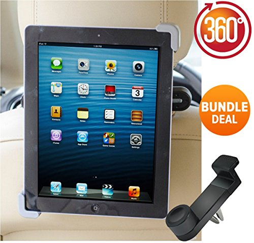 SPECIAL OFFER Premium Car iPad Holder 360° Degree Adjustable Rotating Headrest Car Seat Mount Holder, BONUS Car Phone Holder. For Apple iPad's 1,2,3 4, Samsung Galaxy,Motorola Xoom, And all Tablets Up To -10.1
