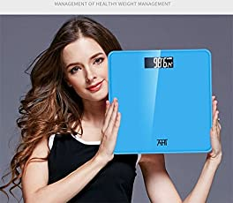 Happy2Buy New Stylish Smart Multi-functional Digital Personal Portable Weighing Scales with High Accuracy, Ultra Wide Platform, Easy-to-Read Backlit LCD, Step-on Technology, 6MM Glass Top, Max. Weight 180Kg / Body Fat Weight Scale / Bathroom Scale(Blue)