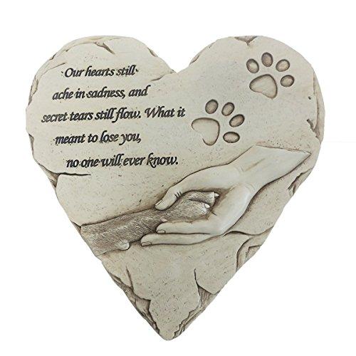 Hund Gedenkstein, Persönlichen Hand-Printed in Herzform Verlust der Pet-Geschenke Hund mit Sympathie Gedicht und Pfoten in Hand Design, Hund ist Ihre Herzliche Familie, weiß