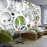 murimage Papier peint Photo Mural-350x250cm Décoration Murale XL-Fruit 3D Stéréo Rond Salle 3D-Wallpaper Colle Inclus