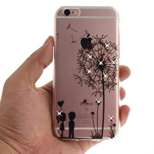 iPhone 6S 4,7Zoll Hülle,iPhone 6 Silikon Schutzhülle,TOYYM Ultra Dünn Transparent Weich Flexibel TPU Bumper Gel Glizter Diamant Silikonhülle Backcover,Retro Muster Design Clear Crystal Durchsichtig Ha Liebhaber
