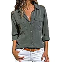VESNIBA Women's Casual Solid Long Sleeve Turn Down Collar Pockets Button Front Shirt Tops Army Green Small