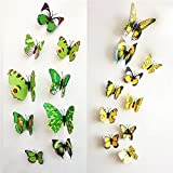 Butterfly Wall Stickers - 12 Pcs Yellow ...