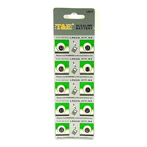 10 x T&E Knopfzellen Uhrenbatterien Uhren Batterie Alkaline AG4, 177, 377, SR626, LR626
