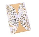 Cdet 50x Blank Kartenhalter Hochzeit EinladungsKarten Glückwunsch Einladung Karten,Elegante Blume Spitze Partyeinladungen für Hochzeit Geburtstag Verlobung Party (Style-9)