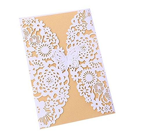 Cdet 50x Blank Kartenhalter Hochzeit EinladungsKarten Glückwunsch Einladung Karten,Elegante Blume Spitze Partyeinladungen für Hochzeit Geburtstag Verlobung Party (Style-9) (Eleganter 50 Geburtstag Einladungen)