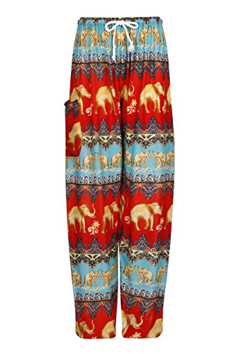 ThaiUK -  Pantaloni  - Donna Elephant U Teal Red