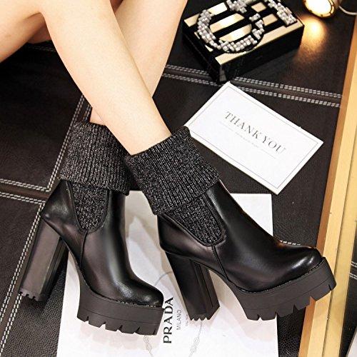 ZQ@QX Autunno e Inverno filato di cucitura testa rotonda spessa con scarpe con i tacchi alti grandi cantieri stivaletti stivali stivali femmina black