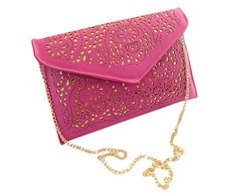 Lawevan Es Taschen Kollektion Damen Damen flache Handtaschen-Partei-Umschlag-Beutel-Frauen-Abend-Beutel Rosa