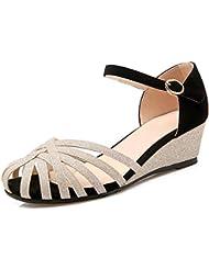 L@YC Zapatos De Cuña De La Mujer Sandalias De Cuero Planas De TamañO De CóDigo Hueco Una Palabra Con Una Plataforma Impermeable