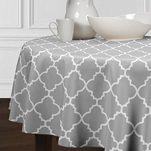 5 Stück-sammlung-tabelle (A LuxeHome Grau und weiß Modernes, Tischdecken Esszimmer Küche Rund 182,9cm)