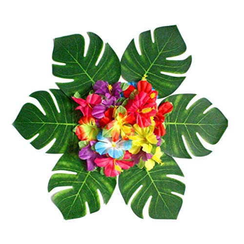 Kongnijiwa Grill 54PCS Tropical Palm Turtle Shell Blätter Künstliche Blatt Naturgetreue Hibiscus-Blumen-Blumenblätter Geburtstags-Party-Dekoration