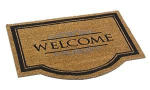 Paillasson d'entrée robuste 100% fibres de Coco naturel dessin Welcome, couleur naturelle et noir 60 x 80 cm