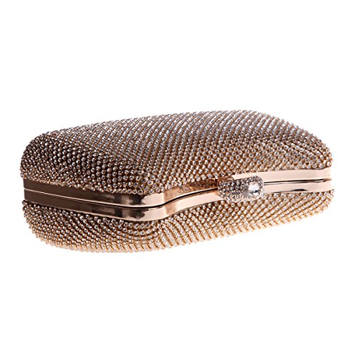 Bonjanvye Bling Ring Clutch Purse Evening Bags For Women Handbag-Gold Oro