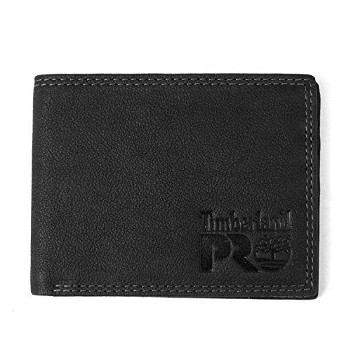 Timberland PRO Men s Slim Leather Bifold Back ID Window Wallet  Black Bullard