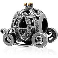Soulbead Sparkling Carrozza di Zucca in argento Sterling 925con zirconia cubica e Placcato Oro Corona, adatto per braccialetto compatibile con marchio