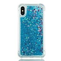 جراب SEYCPHE لهاتف iPhone X، جراب بلاستيك صلب شفاف لامع لامع لامع لهاتف Apple iPhone X، أزرق صغير الحب