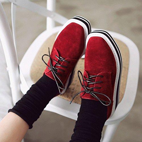 Aisun Damen Durchgängig Plateau Keilabsatz Schnürsenkel Halbschuhe Sneakers Rot