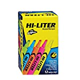 Avery 98034 Hi-Liter Fluorescent Highlighter, Chisel Tip, 12-Set