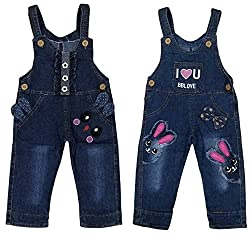 Miss U Girls Wear High Quality Soft Applique Overall Jumper Pants Romper Playsuit Denim Dungaree (18 (3-4 Years), BBLOVE RABBIT)