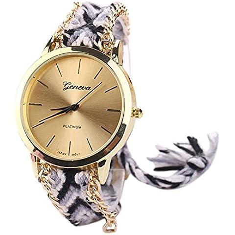 Ginevra oro quadrante Boho braccialetto cinturino maglia donna orologio da polso, #4, Taglia unica