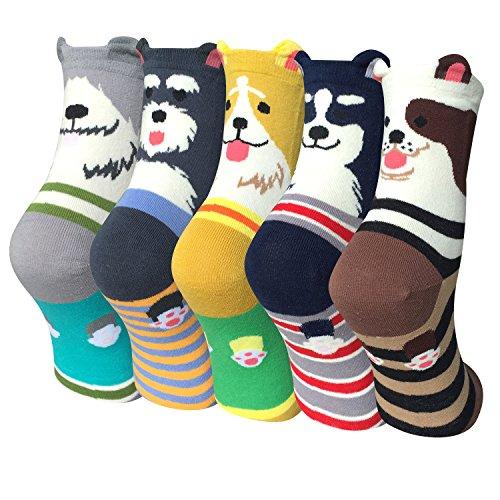 Justay 5 Paar Damen Mädchen Baumwolle Socken, Cartoon Süße Design mit Lustiger Tiere Malerei (Womens Kostüm Lustig)