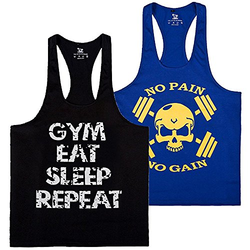donhobo Tanktop Fitness Herren Sport Stringer Muskelshirt Gym Tank Top Bodybuilding Muscle Shirt Achselshirt(2pack3,XL) (Von Herren Tank Oakley Top)