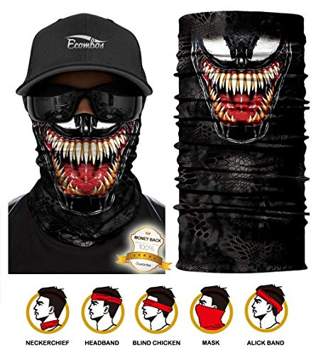 ECOMBOS Multifunktionstuch Gesichtsmaske Bedrucktes nahtlos veränderbaren Schädel Lätzchen Sport Reiten Sonnencreme Maske Schlauchtuch Halstuch Bandana Face Shield Bandana Ski Motorrad