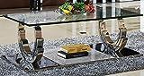 HG Royal Estates Azurit Couchtisch Edelstahl Wohnzimmertisch Glas Hochglanz Tisch 130x70x42 cm