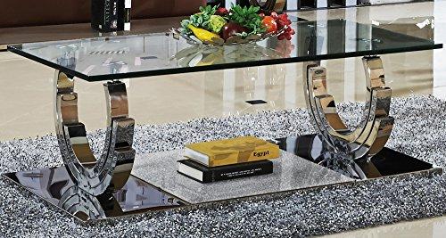 Azurit Designer Couchtisch Edelstahl Wohnzimmertisch Glastisch Glas Hochglanz Größe 100 x 100 x 42 cm