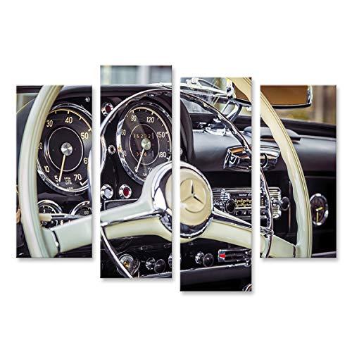 Bild Bilder auf Leinwand Nowosibirsk, Russland - 16. Juni 2017: Mercedes-Benz 190 sl, Nahaufnahme des Lenkrads, Armaturenbrett. Fotografie eines Oldtimers auf Einer Straße in Nowosibirsk Wan