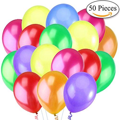 "Jonami 50 Mehrfarbige Luftballons Bunt Helium - Ballon Bunte Latex Premiumqualität Ø ca. 36 cm / 14\"" Partyballon Bunte 3,2 g Deko / Dekoration fur Geburstags"