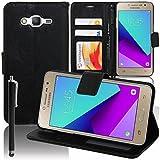 VCOMP Housse Coque Etui Portefeuille Support Video Livre Rabat Cuir PU pour Samsung Galaxy Grand Prime Plus/Grand Prime (2016)/ Galaxy J2 Prime/SM-G532F G532M G532G + Stylet - Noir