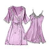 Xuanli Damen V-Ausschnitt Nachtwäsche Kleid Sleepwear 2 Stücke Satin Elegante Bademantel Schnürsenkel Roben(Violet-Medium)