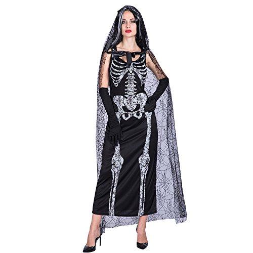 Petalum Damen Hallowenn Zombie Braut Skelett Kleid Umhang mit Kapuzen Kostüm Karneval Fasching Cosplay