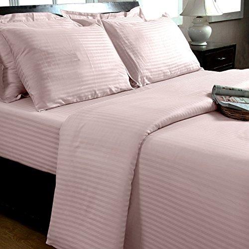 Homescapes 3-teiliges Bettwäsche-Set, Bettbezug 200 x 200 cm mit 2 Kissenbezügen 48 x 74 cm, 100% ägyptische Baumwolle mit Satin-Streifen, Fadendichte 330, rosa (Rosa Bettbezug)