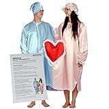 Partyspiel Schlafwandler-Paar doppeltes Nachthemd für Ehepaar Kostüm Fasching Hochzeitsspiel