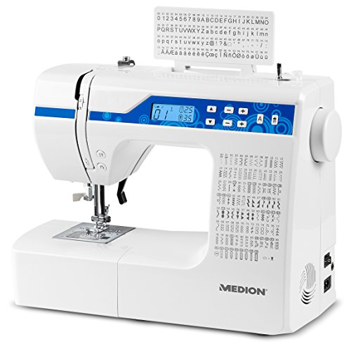 Medion MD 15694 - Máquina de coser digital, consumo de energía de 30 vatios, ojal automático, 100 puntos de sutura, luz de costura LED, amplia gama de accesorios, color blanco