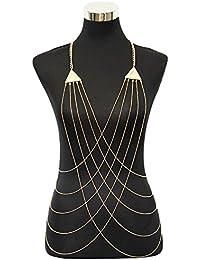 LUREME Sexy Bikini Belly Chain Tassel Crossover Collar de Cadena del Cuerpo para Las Mujeres (bc000034)