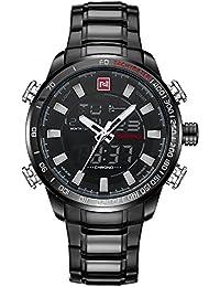Naviforce reloj de Hombre Deporte Acero Inoxidable Moda cuarzo analógico digital reloj con alarma, fecha, cronómetro (negro)