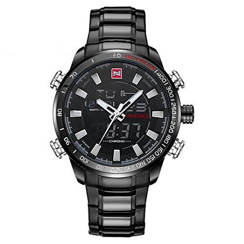 naviforce Herren Sport Edelstahl Fashion Analog Digital Quarz Armbanduhr mit Alarm, Datum, Stoppuhr (schwarz)