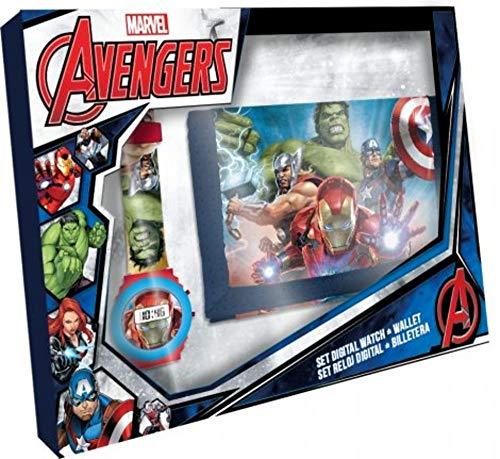 707be975d Marvel Avengers Hulk Thor Captain America Iron Man Montre numérique +  Porte-Monnaie Set