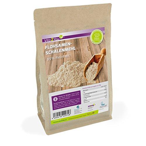 Flohsamenschalenmehl 99% Reinheit - 750g Zippbeutel - indische Flohsamenschalen gemahlen - 1er Pack (750g) - Premium Qualität