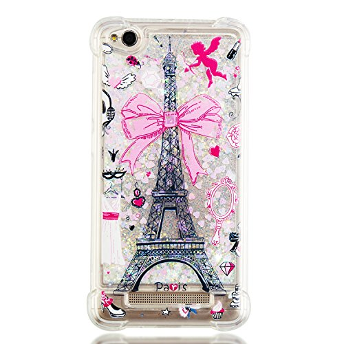 Wubaouk Kompatibel mit Xiaomi Redmi 4A Liquid Glitter Hülle Quicksand Clear Soft Silicone TPU Gel Cover Ultra Thin Hülle Eiffel Tower Shockproof Bumper Protective Women Phone Hülles