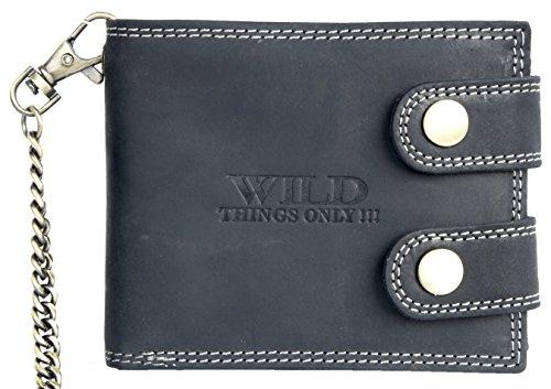 Herren Dunkelgraues Leder Geldbörse Wild mit einer 50 cm langen Kette und Karabinerhaken (Wallet Biker Tri-fold)