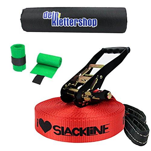 """Alpidex Slackline-Set """"I ❤ Slackline"""", 25 m lang, 5 cm breit + Baumschutz"""