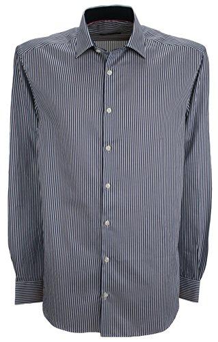Ex-Store Bengal Stripe Tailored Fit Shirt mit Kontrast Manschetten Marineblau & Weiß, Blau (Gestreiften Bengal Hemd)