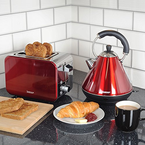 Igenix IGPK12 Breakfast Set, Pyramid Kettle and 2 Slice Toaster – Metallic Red